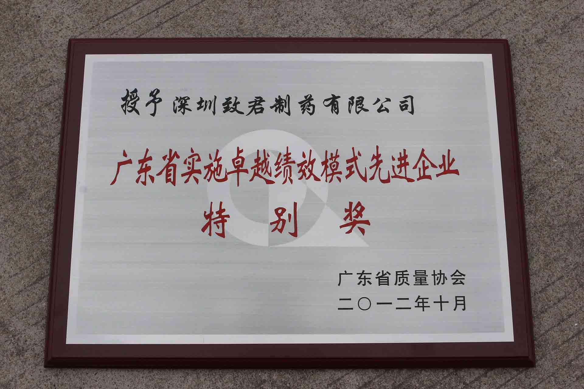 广东省实施卓越绩效模式先进企业特别奖