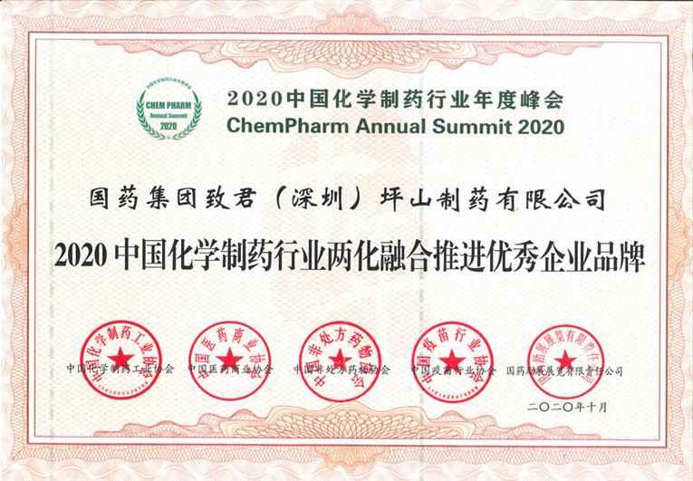 2020中国化学制药行业两化融合推进优秀企业品牌