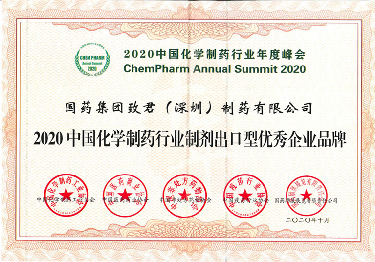 2020中国化学制药行业制剂出口型优秀企业品牌